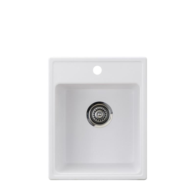 Metalac granitna usadna sudopera xQuadro 40 bela 400x500 Ø90
