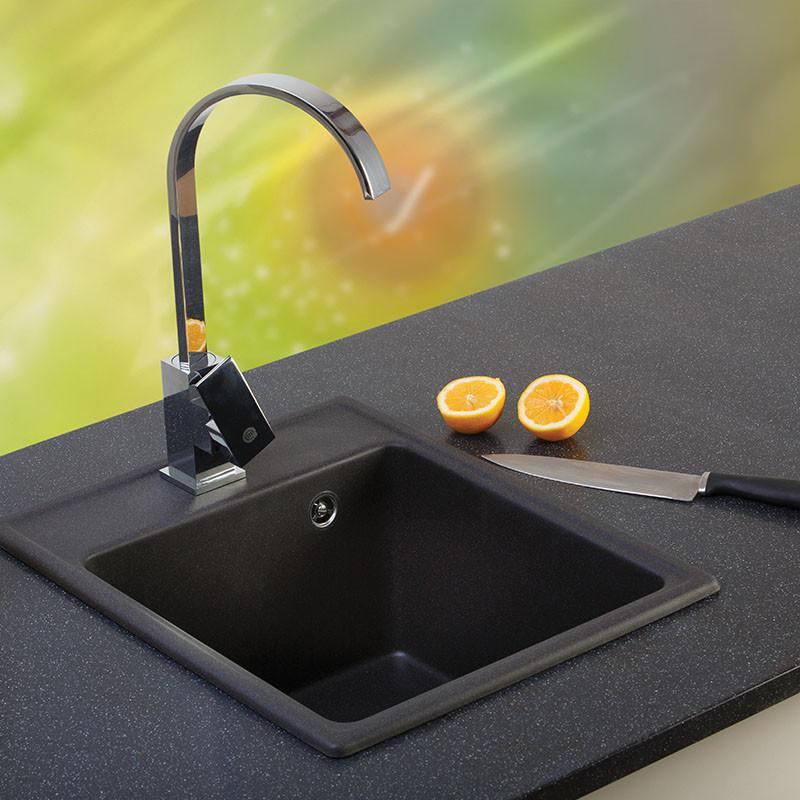 Metalac granitna usadna sudopera xQuadro 40 crna 400x500 Ø90
