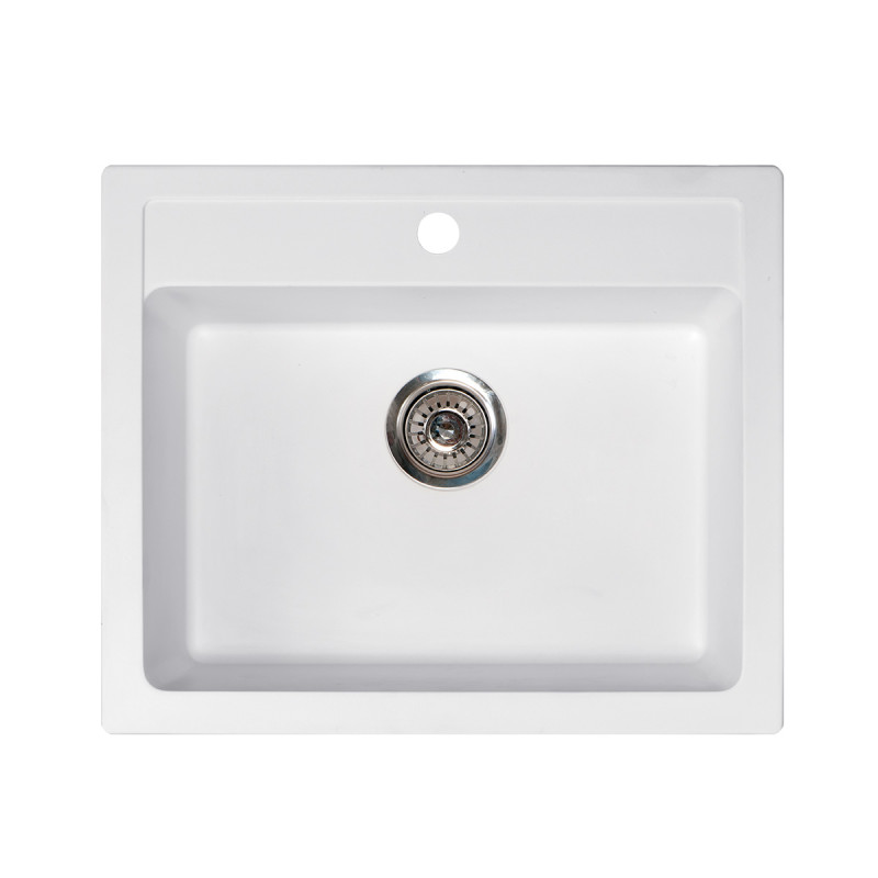 Metalac granitna usadna sudopera xQuadro 60 bela 600x500 Ø90
