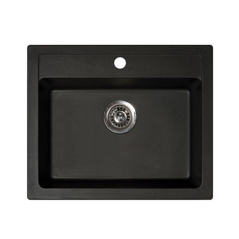 Metalac granitna usadna sudopera xQuadro 60 crna 600x500 Ø90