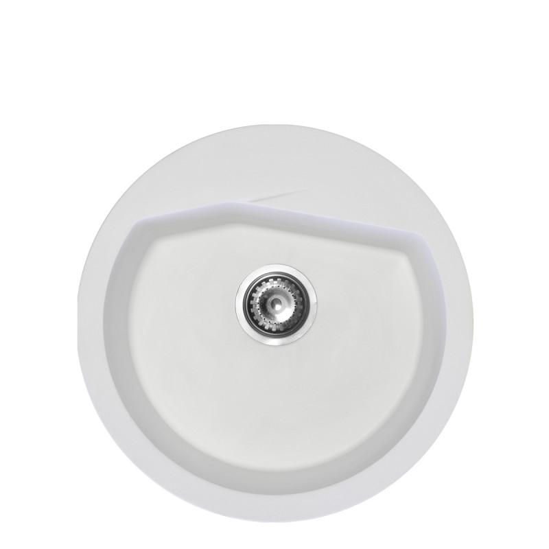 Metalac granitna usadna sudopera xVesta bela E520 ø90