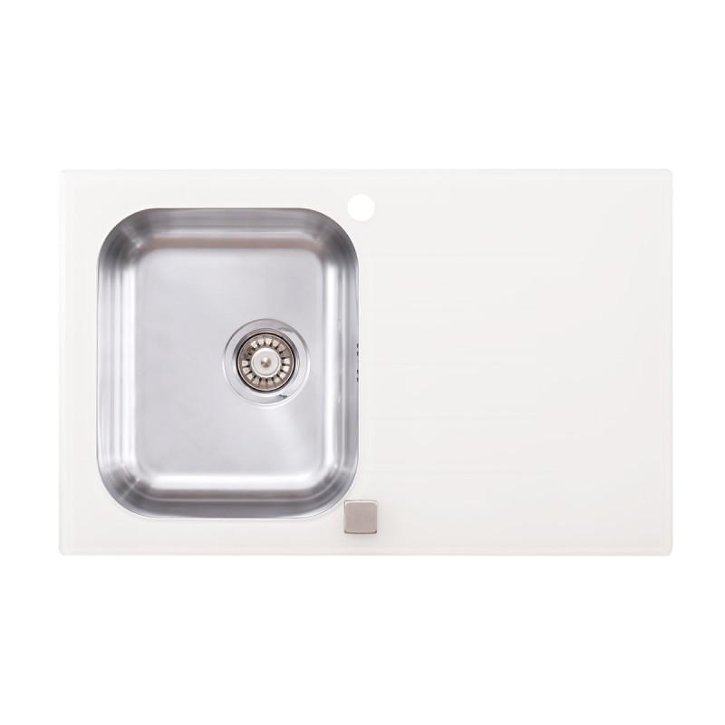 Metalac inox usadna sudopera Onyx bela Ø90