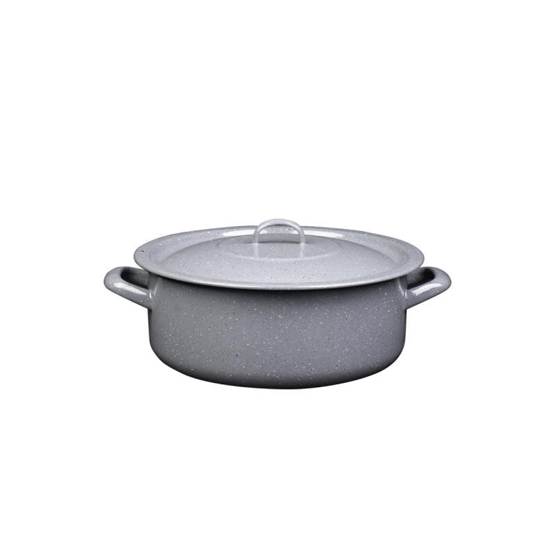 Metalac plitka šerpa PRSKANO SIVO 24cm/4,5lit