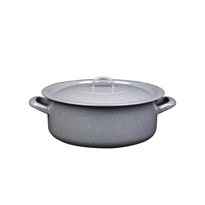 Metalac plitka šerpa PRSKANO SIVO 30cm/9lit